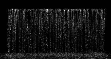 Photo pour Cascade liquide tombant éclaboussure sur la vue de face sur fond noir. Expéditeur 3D - image libre de droit