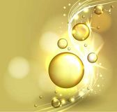 Gold face mask solution oil bubbles on precious background Beauty magazine compozition Cosmetic concept design