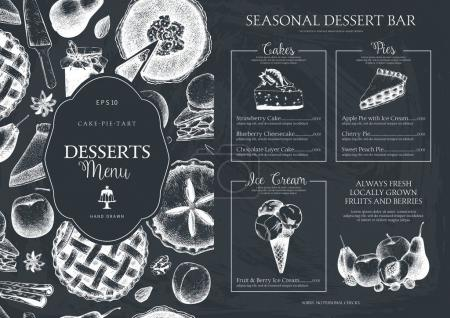 Vector dessert menu design for restaurant or cafe.