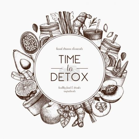 Illustration for Detox diet frame design. Vector background with hand drawn vegetarian products sketch. Vintage healthy food and drinks ingredients illustration. - Royalty Free Image