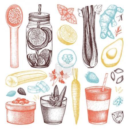 Detox diet products sketch set