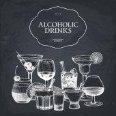 hand drawn alcoholic cocktails illustration