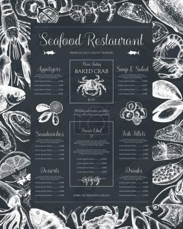 Illustration for Decorative Seafood background. Vector restaurant or cafe menu design. Hand drawn fish illustration. Vintage template - Royalty Free Image