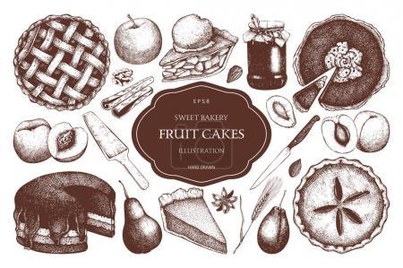 Illustration pour Modèle vintage avec des fruits dessinés à la main et gâteau aux baies, tarte, croquis de crème glacée. Illustration de boulangerie douce - image libre de droit