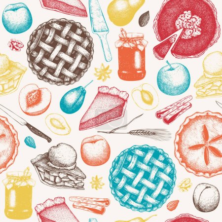 Vector background with ink hand drawn fruit and be...