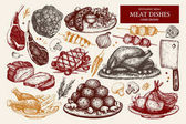 collection of hand drawn meat illustration