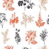 Vintage noxious plants sketch background