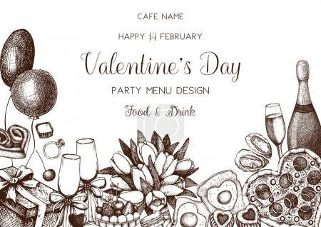 Illustration for Vintage menu design for cafe or restaurant. Vector frame with hand drawn food and drinks sketch for Valentine's Day celebration. - Royalty Free Image