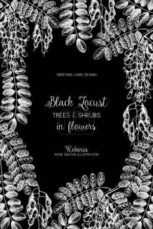 Illustration pour Cadre vintage avec arbres à fleurs dessinés à la main. Modèle d'invitation de mariage. Illustration printemps vintage sur tableau noir. Fond floral - image libre de droit