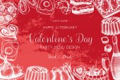 Vector frame with hand drawn food and drinks sketch for Valentine's Day celebration