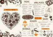 Valentine's Day template Vector background with hand drawn food and drinks sketch