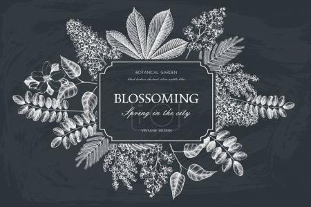 Illustration pour Conception de carte vectorielle avec des arbres en fleurs dessinés à la main. Modèle d'invitation de mariage floral . - image libre de droit