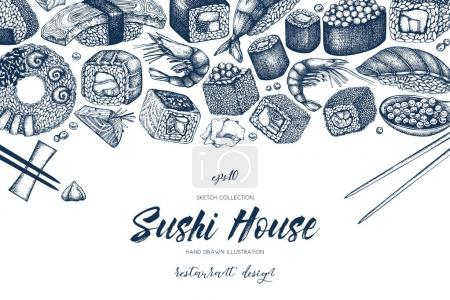 drawn sushi menu