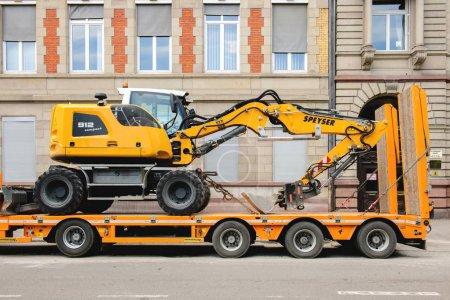 Liebherr 912 compact excavator on transportation trailer