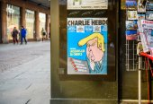 CHalrie Hebdo cover featuring Donald Trump on cover at inaugurat