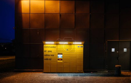 Front view of Amazon Locker at dusk