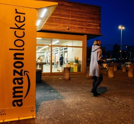 Amazon Locker with customer leaving after pick-up parcel