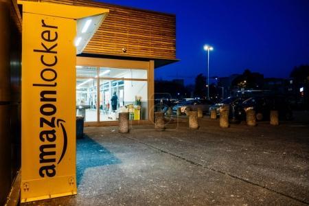 Amazon Locker at night supermarket