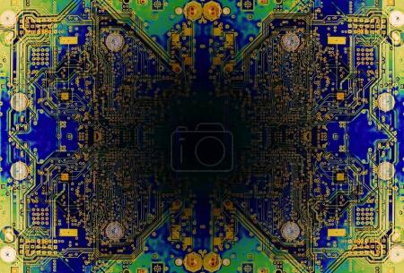 Photo for Green circuit board of a modern computer IT component with black burnt hole - Royalty Free Image
