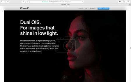 Apple website showcasing iPhone X 10 camera