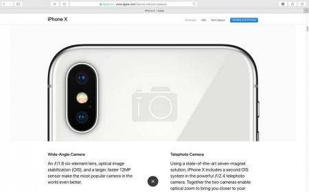 Apple website showcasing iPhone X 10 camera