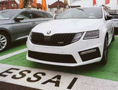 PARIS, FRANCE -  November 7, 2017: Essai text translated as Test Drive cars with Skoda Superb and Octavia cars made by Volkswagen at the car dealership garage