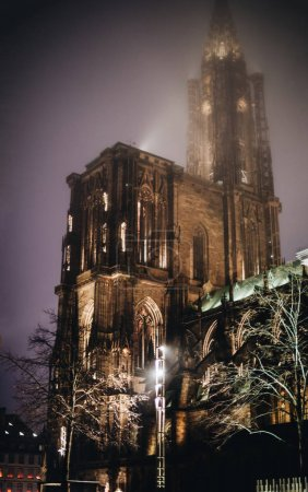 Notre-Dame Cathedral in Strasbourg, France at night with magic Christmas colours light on a mist evening