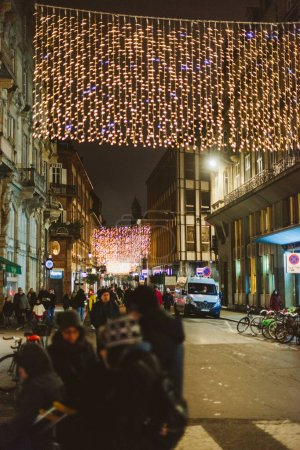 strasbourg central street at night pedestrians Christmas holiday
