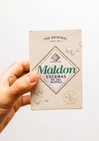 Maldon salt package in white kitchen