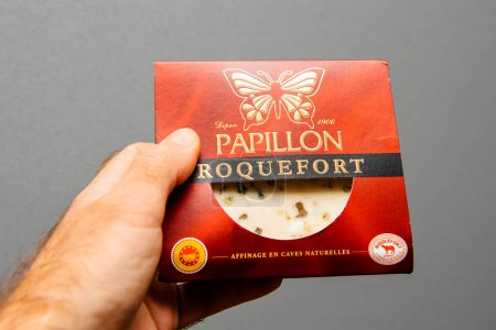 Man holding against gray background a Roquefort