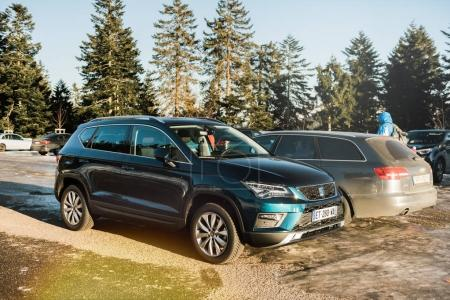 seat ateca suv cars in snow parking in Germany