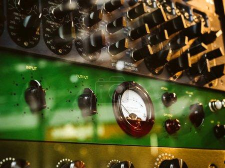 Macro close-up details of Burl Studio control audio monitor