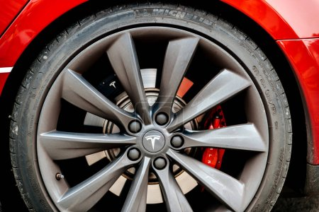 Tesla Model S car wheel with distinct logotype insignia