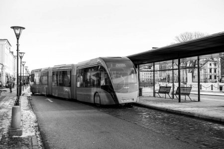 Modern double articulated bus Van Hool 324H Exequicity 24 Hybrid