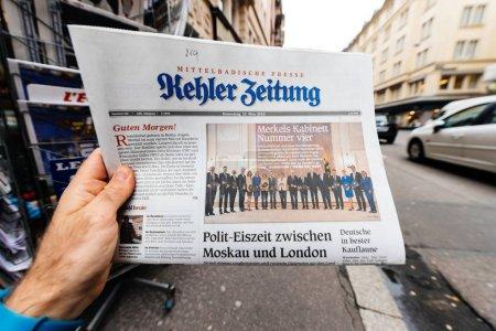 Kehler Zeitung Newspaper at press kiosk featuring Angela Dorothe