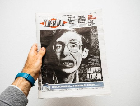 Newspaper about Stephen Hawking Death on the first page portrait