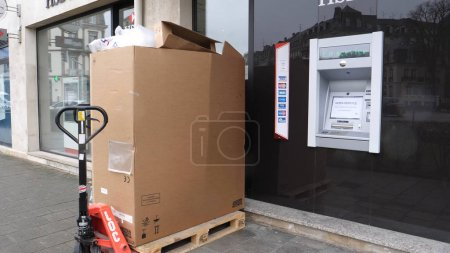 PARIS, FRANCE - CIRCA 2018: Installation of a new HSBC ATM automatic teller machine at Bank Branch in France