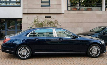Luxury blue Mercedes-Maybach s600 limousine