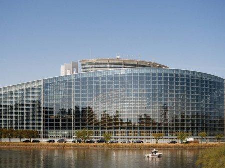 National Gendarmerie boat near European Parliament facade during