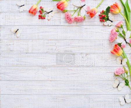 Flat lay flowers frame