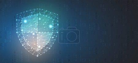 Illustration pour Cybersécurité et information ou protection du réseau. Futurs services web de cybertechnologie pour les entreprises et le projet Internet - image libre de droit