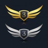 Wings Shield Number 3 Logo