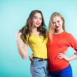 Two fashionable women in bright clothes on blue ba...