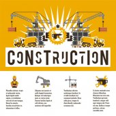 Vector illustration on the theme of a construction site Icons of tools equipment worker technology Template for text Banner with the production of information Advertising company Flat style