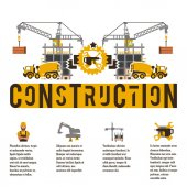 Vector illustration on the theme of a construction site Icons and template for text Concrete Mixer Crane and unfinished building Banner with the production of information Advertising company