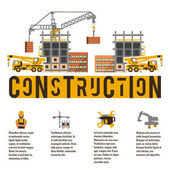 Vector illustration on the theme of a construction site Icons and template for text Crane truck and unfinished house Banner with the production of information Advertising company Flat style