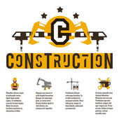 Vector illustration on the theme of a construction site Icons and template for text Logo special equipment hydraulic arm Excavator crane Banner with the production of information