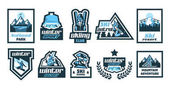 Set logos stickers posters on the theme of skiing winter holidays extreme sports snowboard Isolated objects on the background Mountain forest river eagle sun skier glasses jacket hat