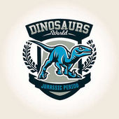 Colourful emblem logo label the world of the dinosaurs of the Jurassic period of the Mesozoic era is isolated on a background of the shield Vector illustration printing for t-shirts