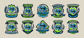 Set of colorful logos emblems labels the world of the dinosaurs of the Jurassic period of the Mesozoic era is isolated on a background of the shield Collection for printing on T-shirts